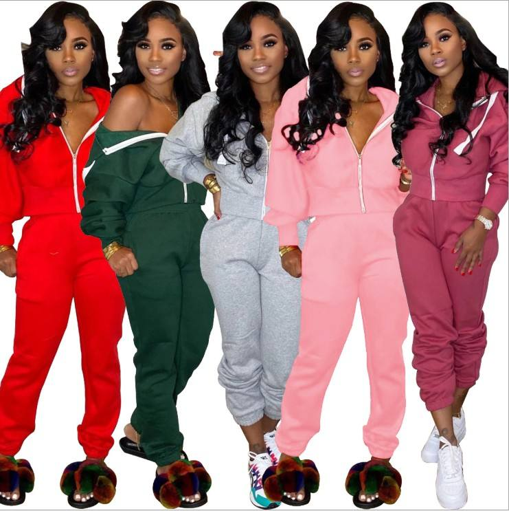 Wholesale fall jogging sweat suits set women sweatsuit joggers tracksuit for women