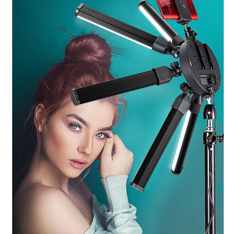 Camera Video Photo Light 3200K-5500K with Tripod Stand for Camera Phone 6 Tubes Eyes Star LED Makeup Ring Light Photography Lamp
