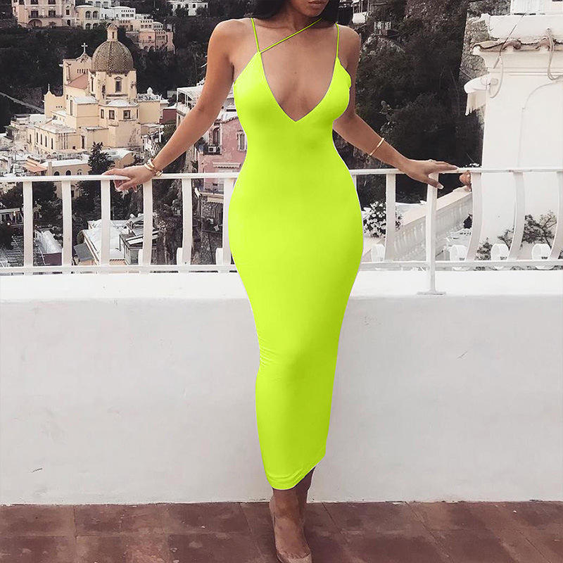 Women Wholesale White Yellow Black Neon Color Sexy Halter Backless Bandage Dress