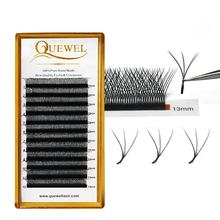Quewel Wholesale C/D Curl W Shape Individual Volume Fan Eyelash Extension Custom New Style W Eyelash Extension
