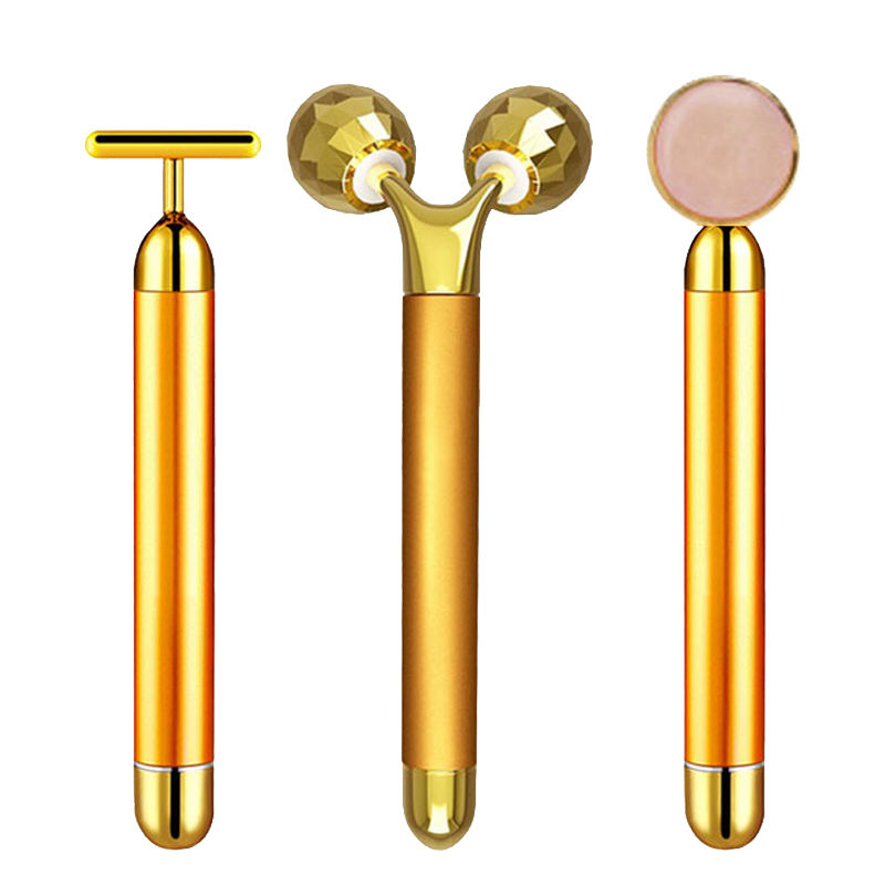 24 K Gold Energy Beauty Bar ชุด 3D Face Vibration Massager Facial Massager Anti Aging ผิวกระชับเต่งตึง Roller ลด double Chin