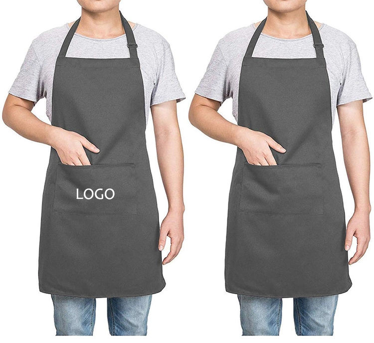 Black Grey Plain Design Linen Polyester Men Women Protective Kitchen Cleaning Cooking Apron with Customized Logo Printing