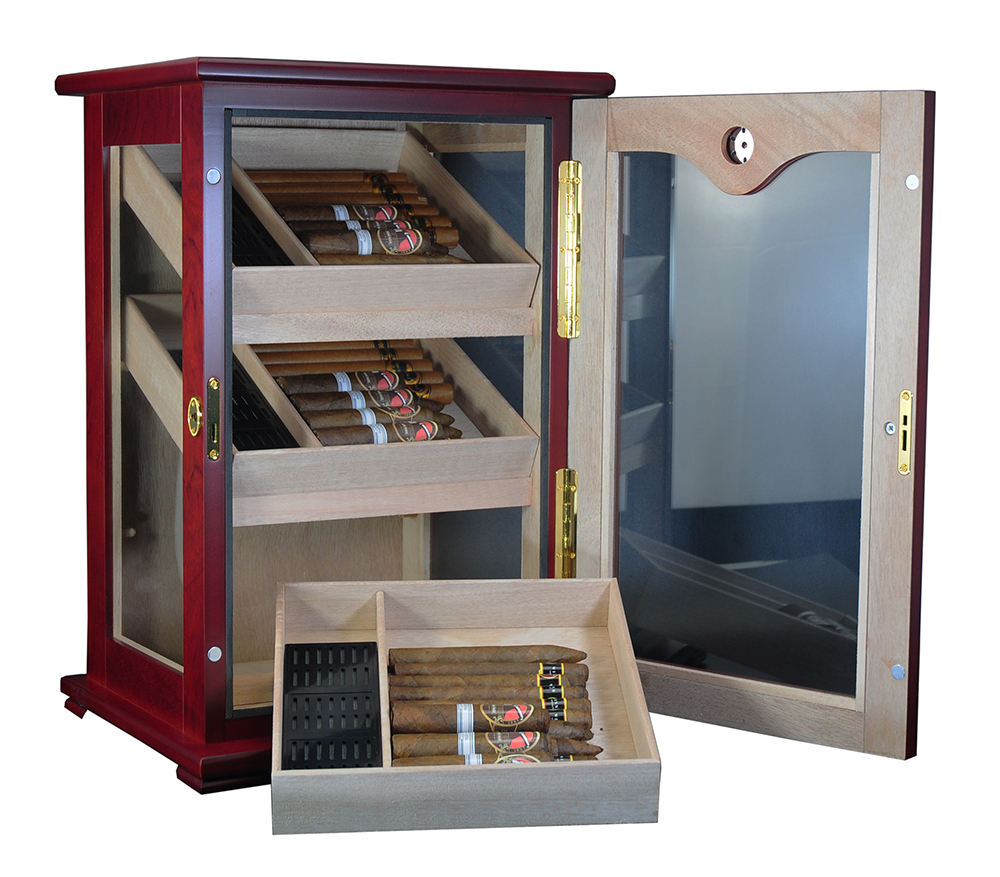 Large Capacity Bubinga Cigar Display Humidors for Sale New Design Humidor Cabinet Cigar Room Showcase Rack
