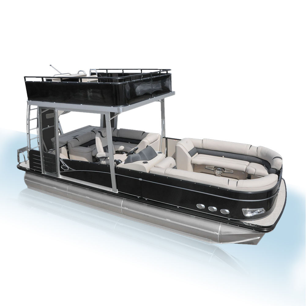 Ecocampor Best Bluminum Yacht Luxury Jet Pontoon Boat with Slide for sale