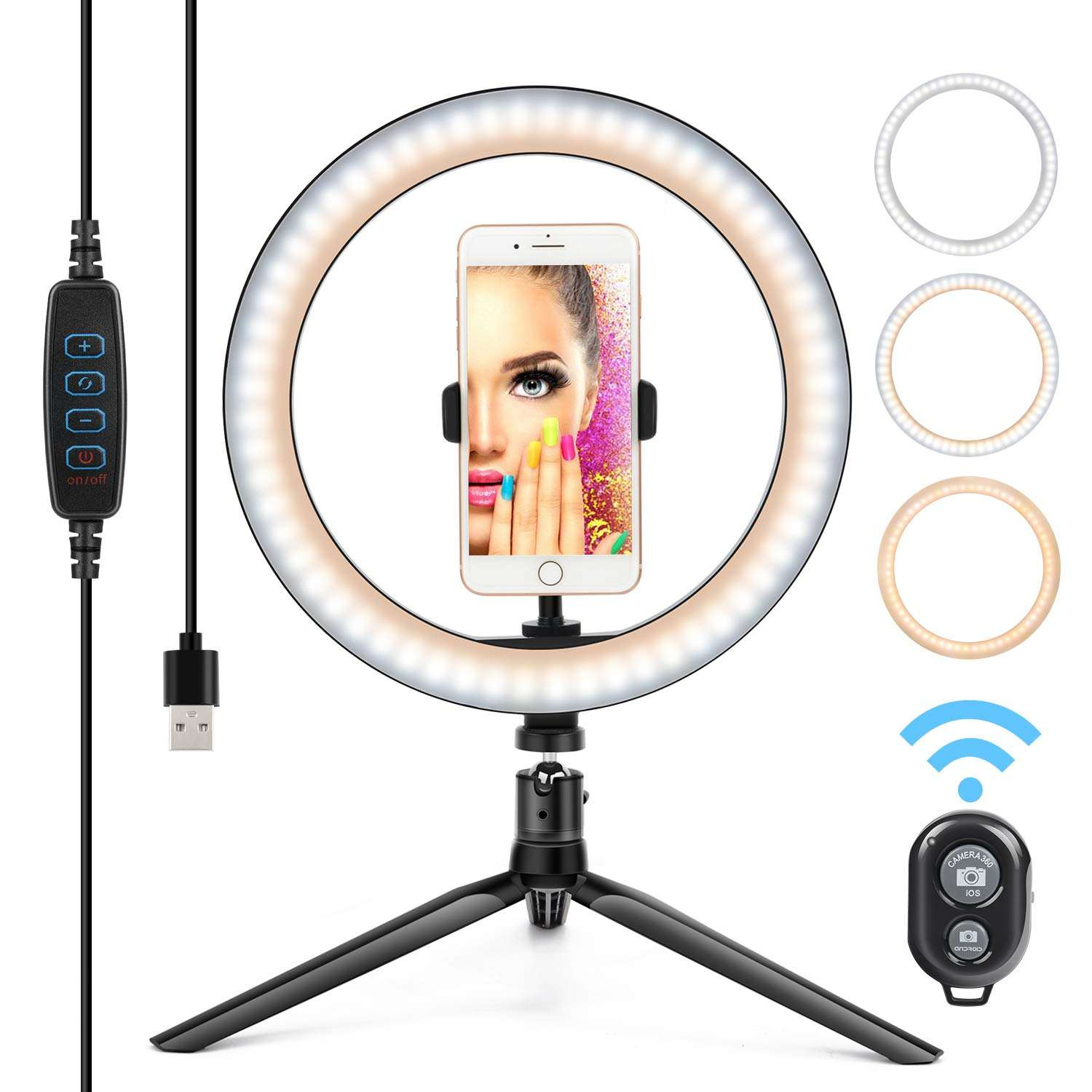 Tiktok Youtb Camera Studio Vlog Phone Dimmable Fill Light 10 Inch LED Circle Ring Light with Tripod Stand Aros De Luz