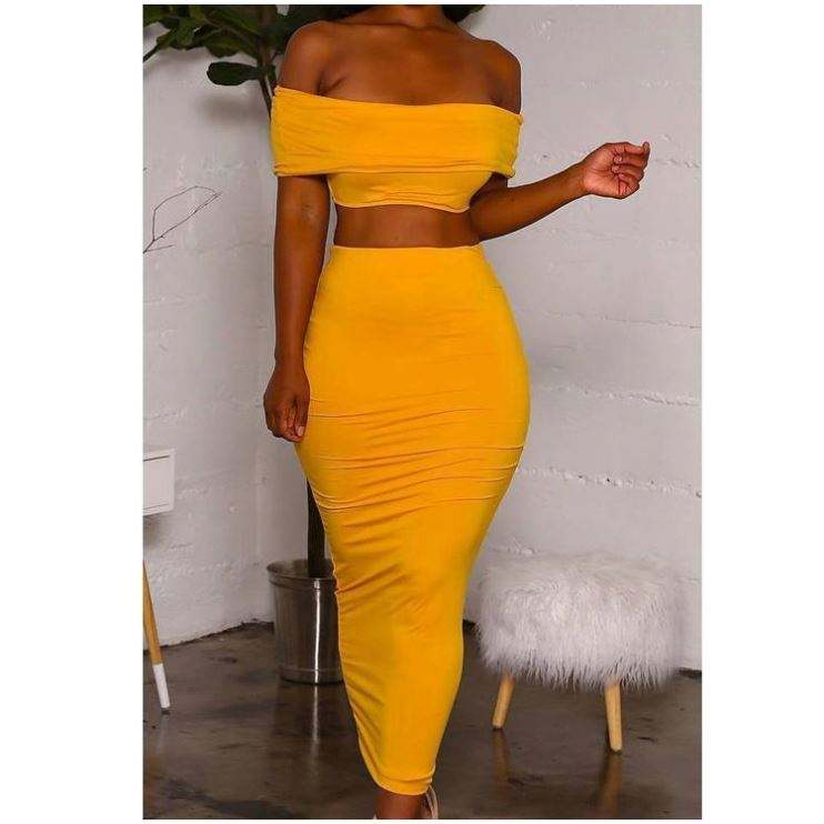 2019 Wholesale Clothing Yellow Bandeau Top And Long Sheath Skirt Casual Dresses