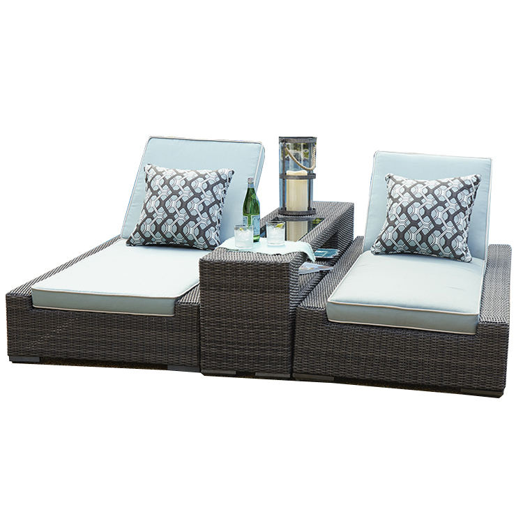 Luxury Outdoor Living Garden Furniture Rattan Chaise Lounge