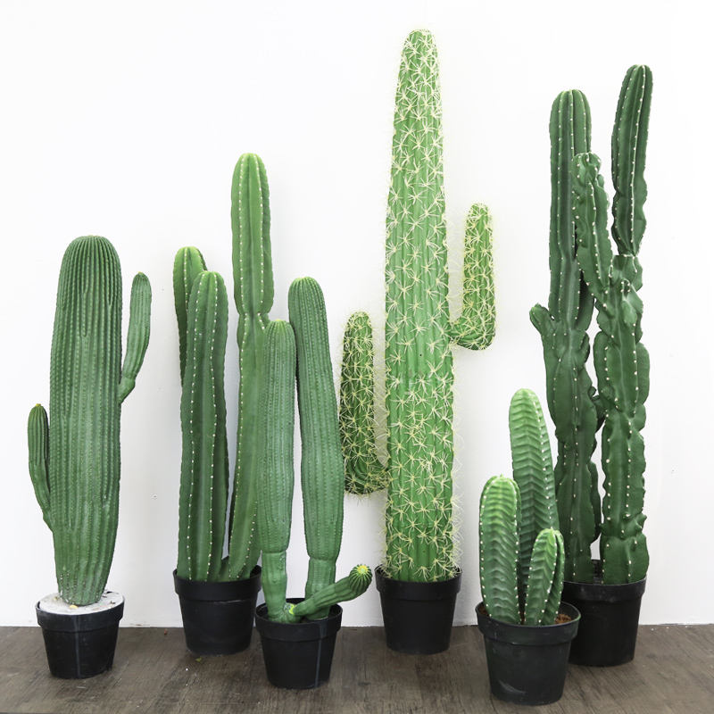 Indoor Decorative Plastic Green Potted Artificial Cactus Tree and Fake Mini Plants Artificial Cactus Plants for Sale Decor