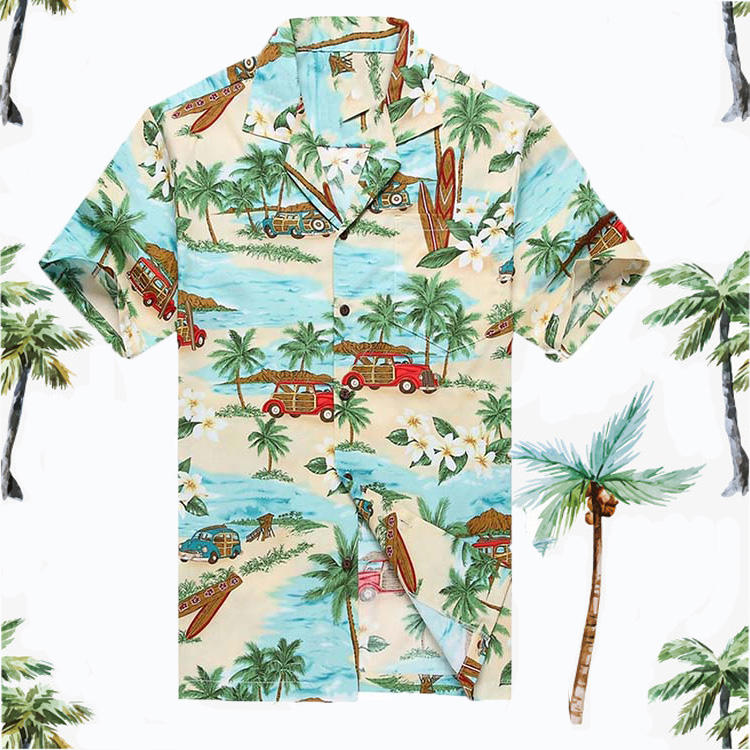Custom Make Fashion Short Sleeve 100% Cotton Men Casual Hawaiian Floral Shirts For Men