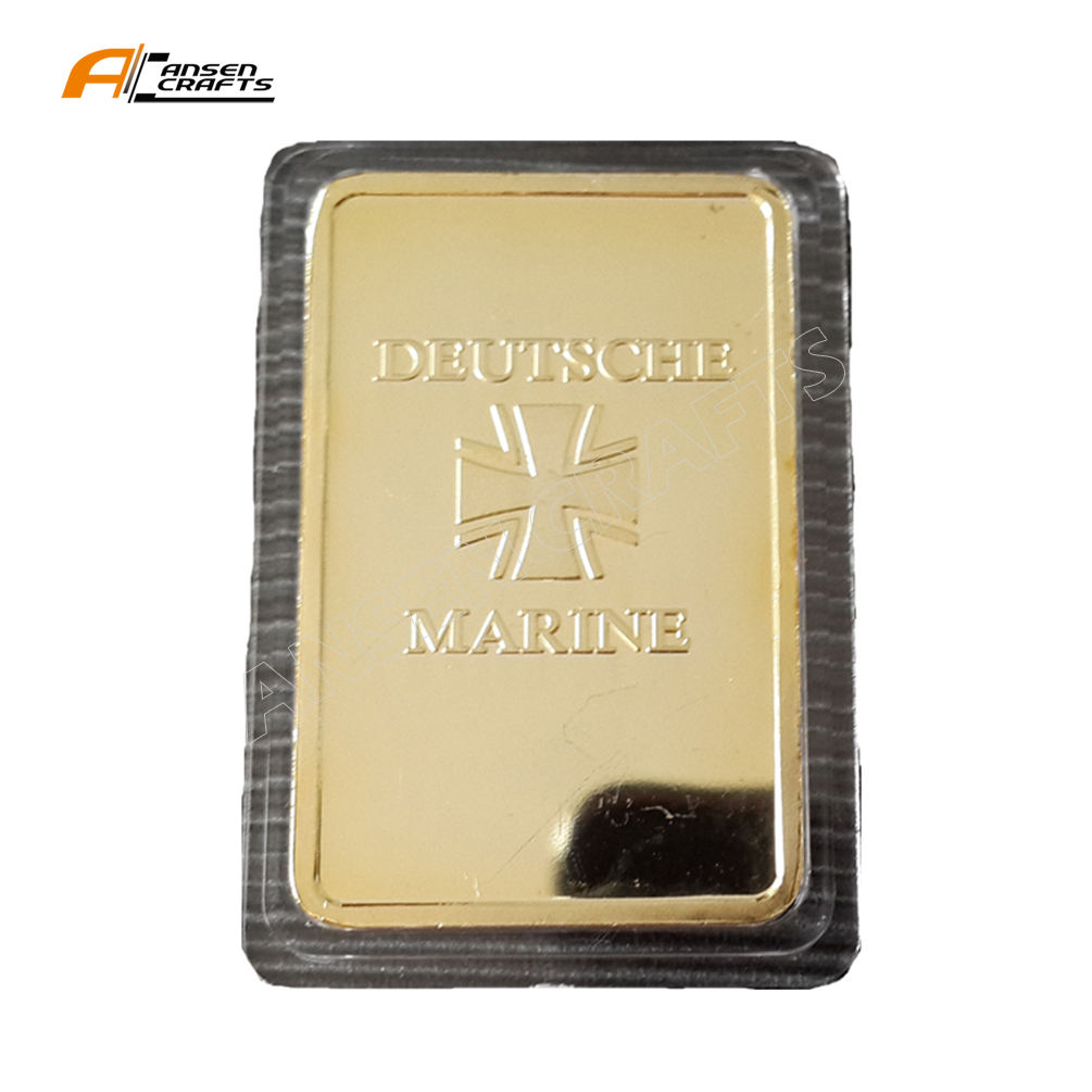 Souvenir Collectable 1 oz gold glad WW2 German Die Bismarck Deutsche Marine Bullion Bar Ingot As A gift for Men