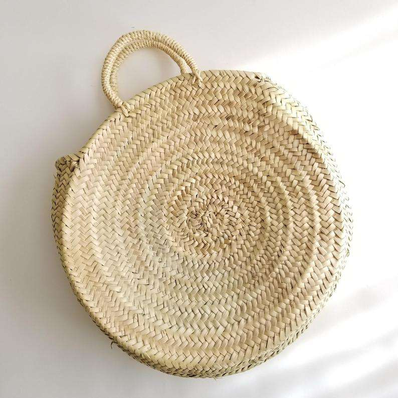 Round Straw Bag with Straw Handles