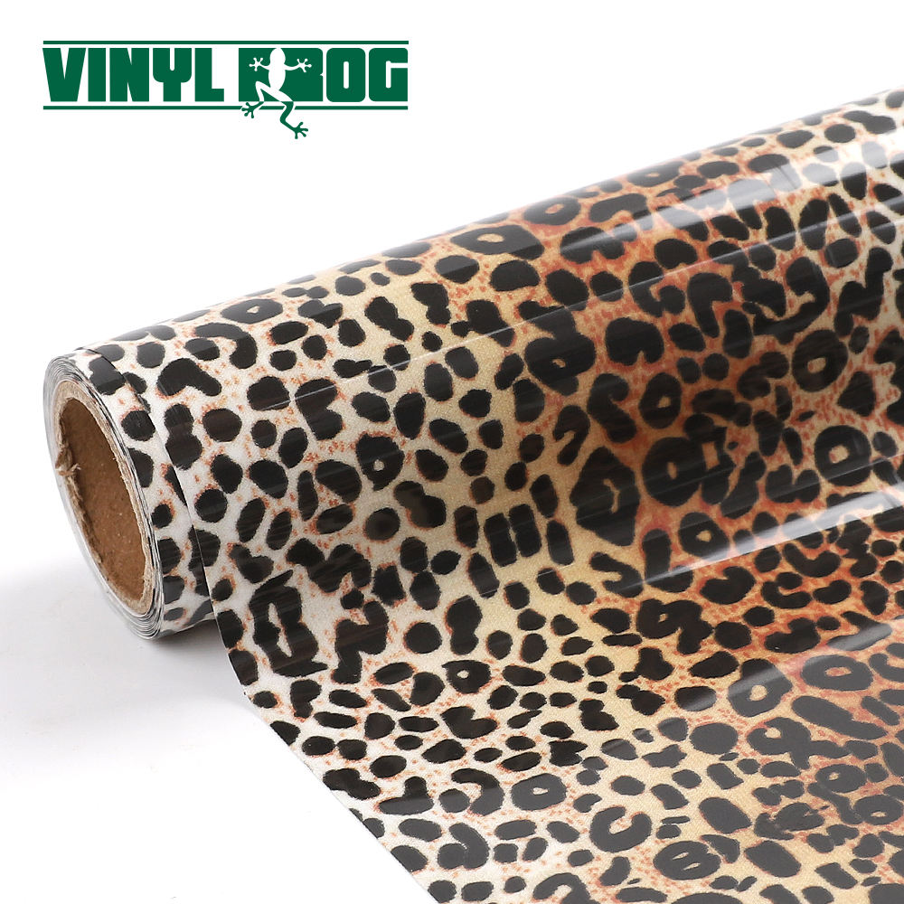 Hot Sale Htv Pvc Rolls Leather Leopard Black White Beige Heat Transfer Printing Film Vinyl For Textile Fabric Tshirt