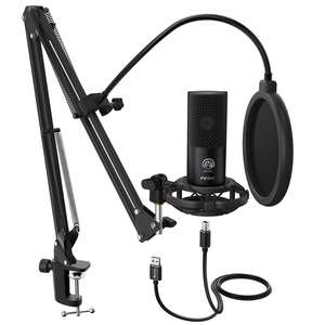 Fifine boom microphone With Arm Stand for Podcast Streaming Gaming Sound Recording Microphone Kit Champagne