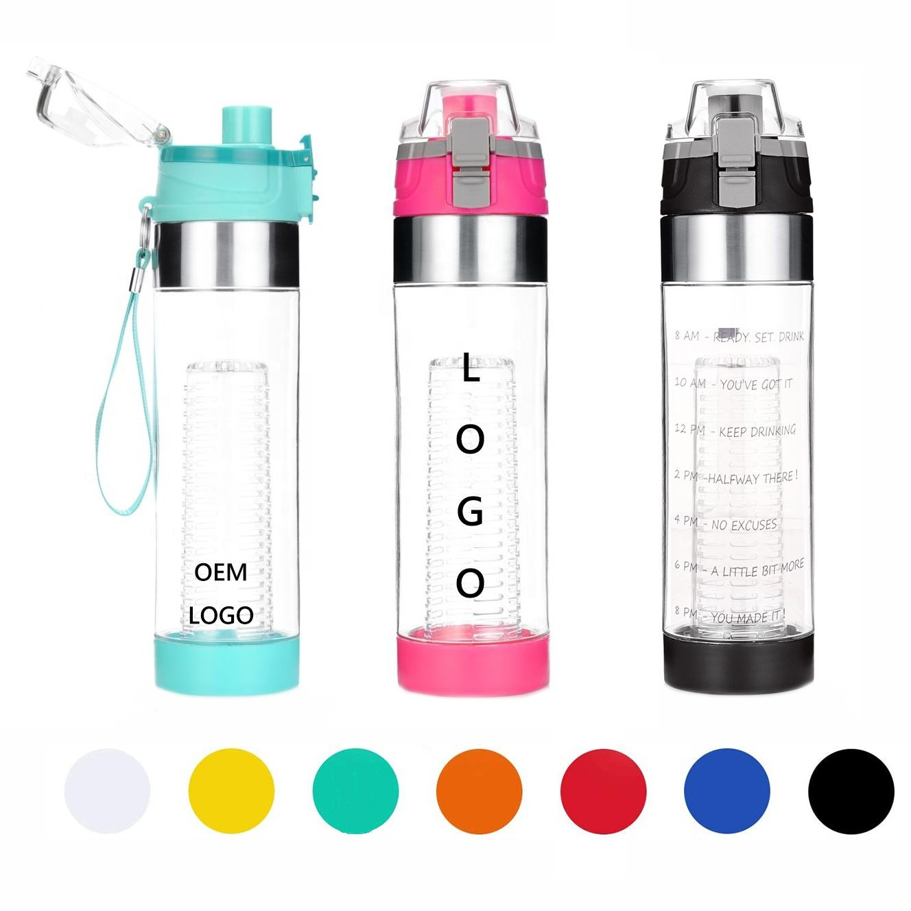 Sport Bottle [ Water Bottle ] Water Bottle Wholesales 700ml Customization Bpa Free Plastic Tea Strainer Fruit Infuser Water Bottle With Custom LOGO