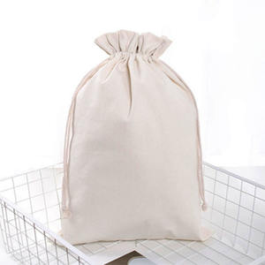 Custom Logo 100% All Natural Recyclable Eco Imprint Cotton Canvas Large Pouch Flour Sack Drawstring Stuff Bag