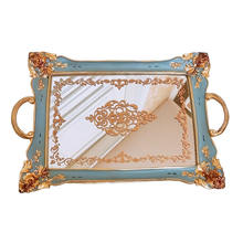 Rectangle Resin Mirror Jewelry Dish Dessert Cake Plate Kitchen Organization Storage Trays Cosmetics Wedding Ring Tray Crafts