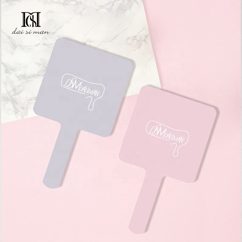 Mini Cute Pink Gray Plastic Hand Mirrors Makeup Vanity Mirror Rectangle Hand Hold Cosmetic Mirror With Handle For Gifts