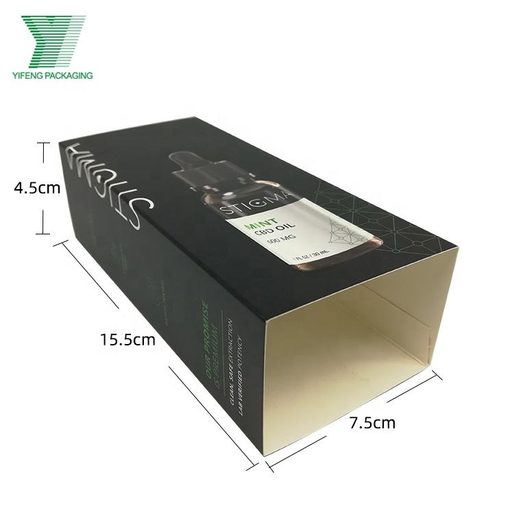 Unique design customized printed recycled coated paper card sleeve for holding essential oil box cosmetic products packaging
