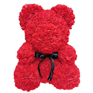 Artificial custom flower foam flower rose teddy bear for valentines day gifts wedding party decoration