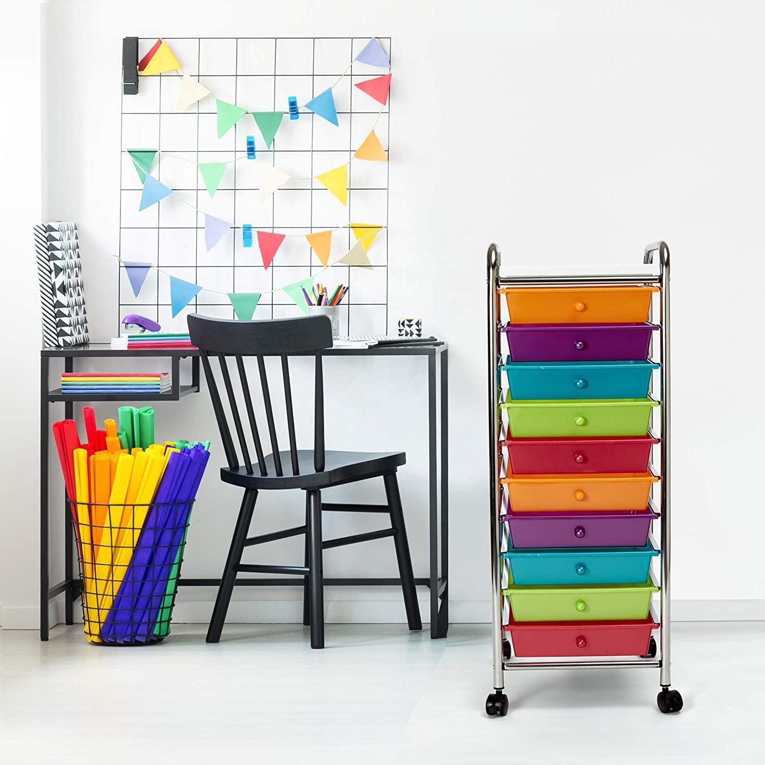 Wonderful Color 10 Drawers Rolling Organizer Cart Craft Utility Mobile Trolley Storage Organizer