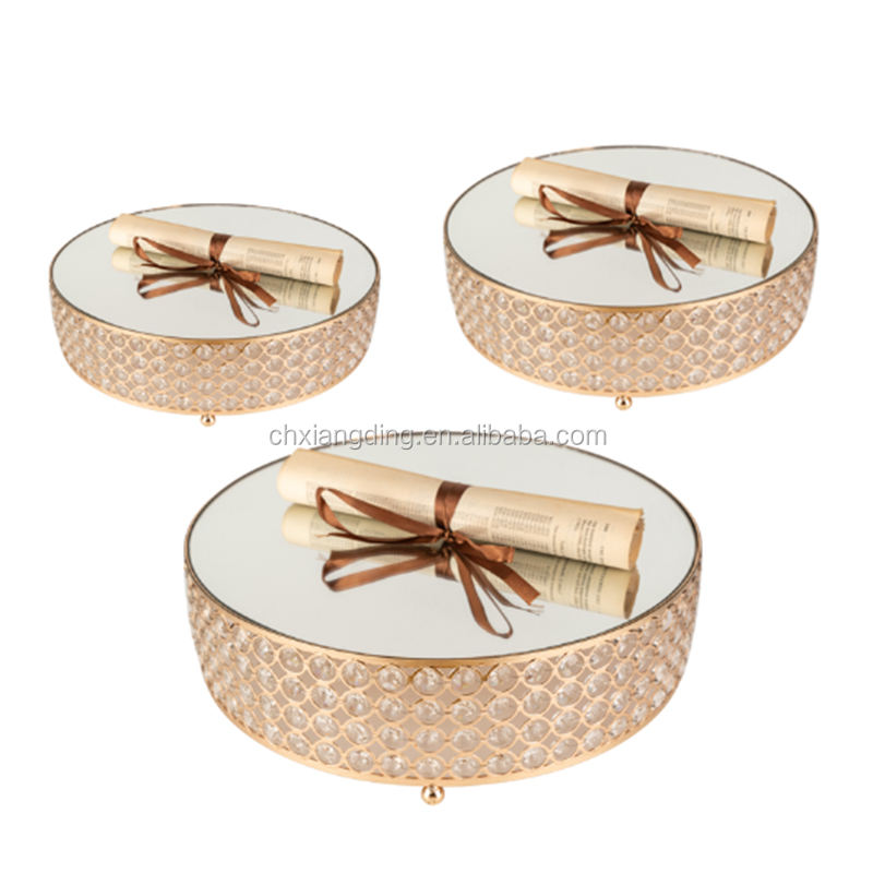 Amazon hot selling Factory Wholesale Round Gold Mirror Crystal Wedding Cake Stand For Wedding