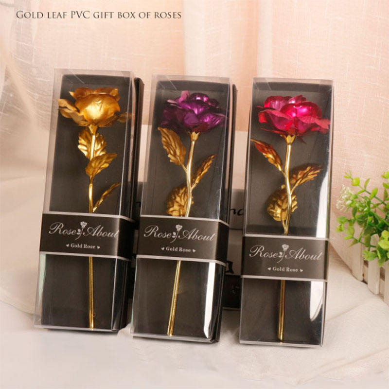 Hot Sale 24K Aluminum Foil Rose Wedding Decoration Mothers Day Valentines Day Gift