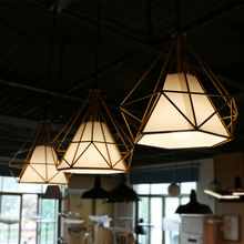 Three pieces set Modern restaurant Classic geometric Yellow Iron modern design light office hanging pendant lamp