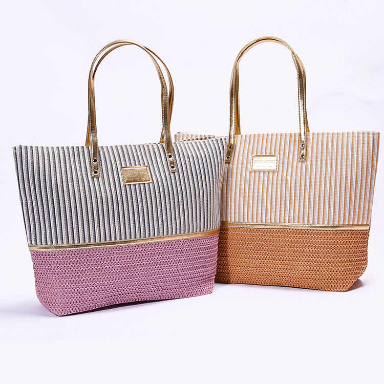 wholesale custom beach bag paper material, vertical stripe beach tote bag for shopping
