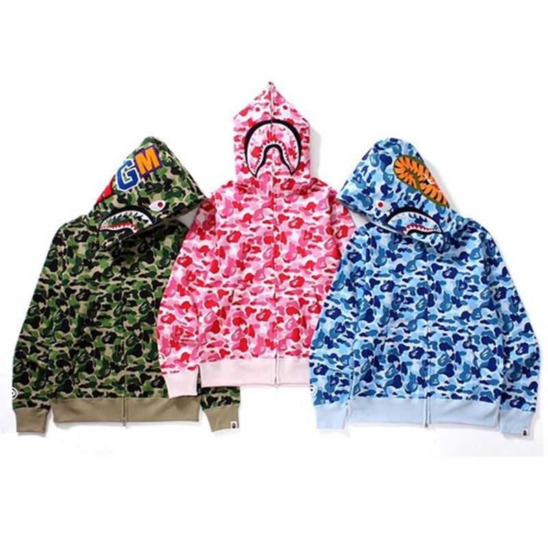 2020 Hot Sale BAPE Shark Head Fleece Camouflage Zipper Hoodies With Pockets With Asian Size