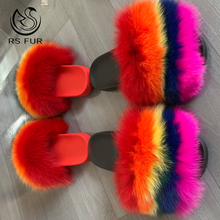 Autumn And Winter Slippers Red Fox Fur Shoes Home Fur Slides Sandals For Women