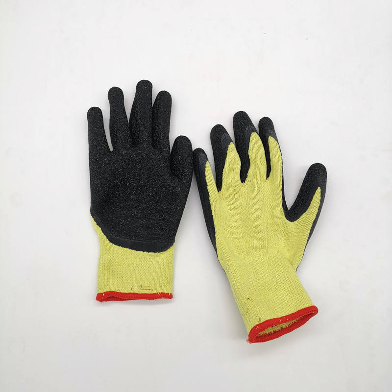 13 Gauge Polyester Nylon Flexible Breathable Non Slip Wrinkle Latex Coated Construction Working Gloves