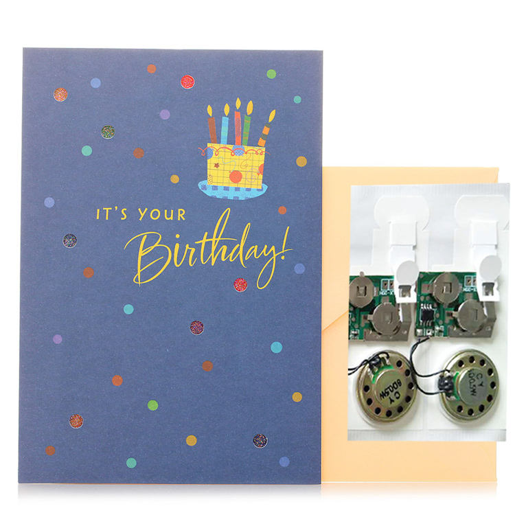 Fashionable invitation personalized ic chip happy birthday mp3 music greeting card