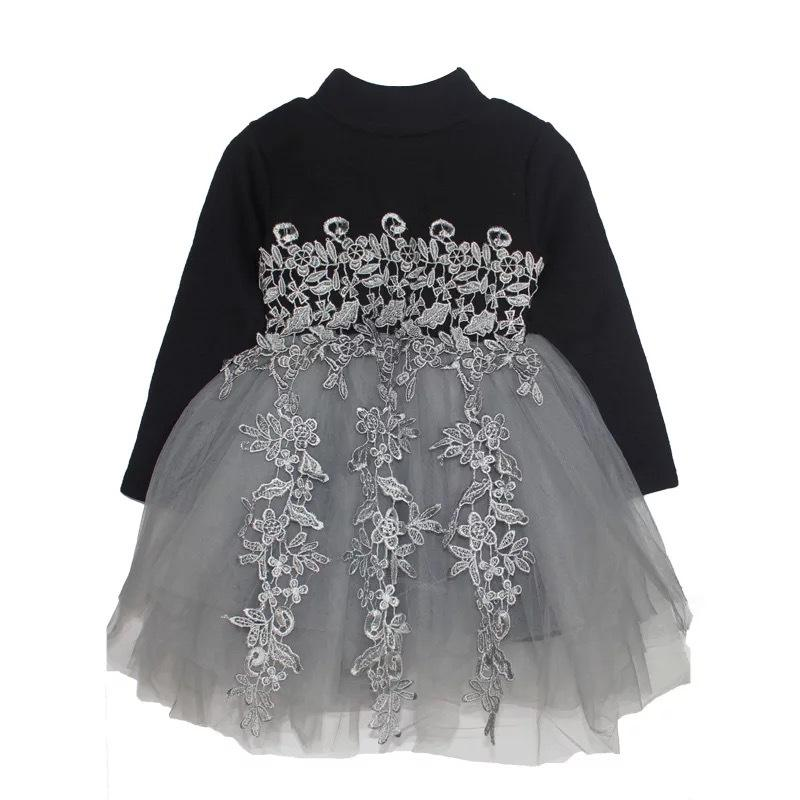 Children's Floral Dress Girls Clothes Lace Solid Party Dress Knit Sweater Princess Dress