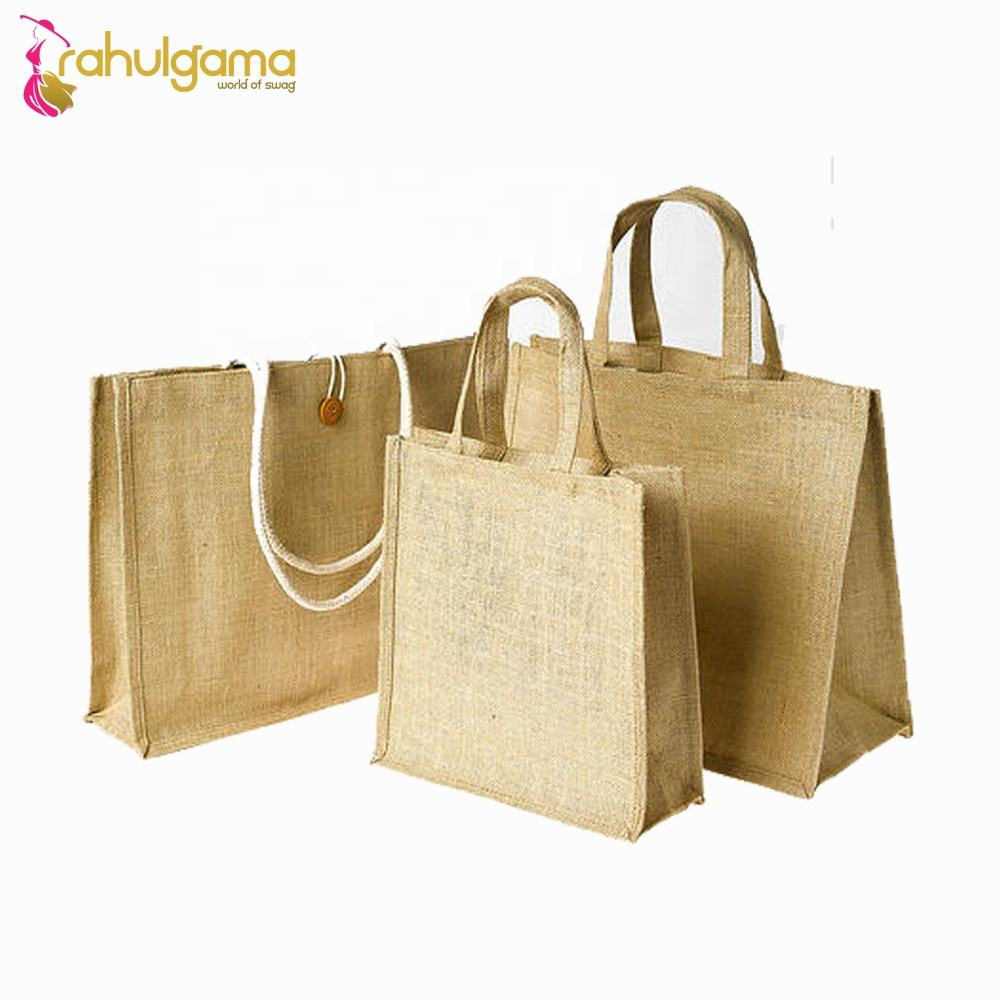 Manufacture Eco-friendly Tote Custom Logo Printed Jute Shopping Bags