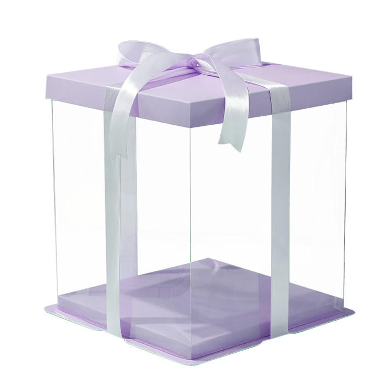 Luxury Custom Logo White Clear Round Square Tall Transparent wedding cake packaging boxes