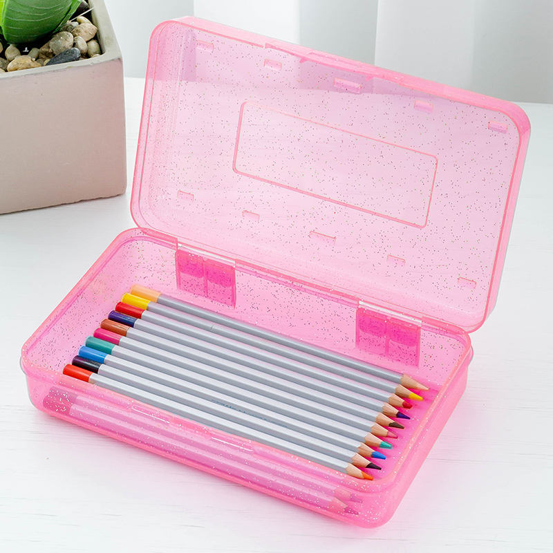 Pencil Box Clear School/home Glitter Storage Box Pp Storage Pencil-box Plastic Pencil Case With Glitter