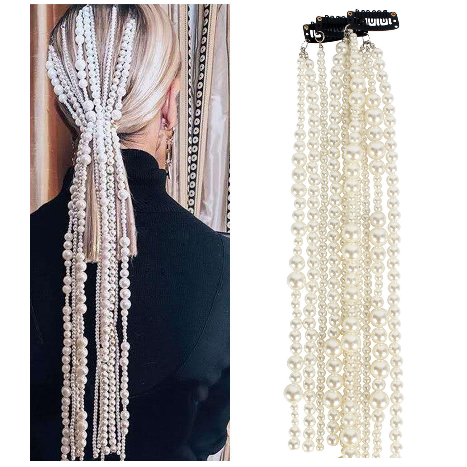 SHIHAN F11200J Creative White Multilayer Imitation Pearl Hair Accessories 2021 Fashion Jewelry Women Long Alloy Hair Chain