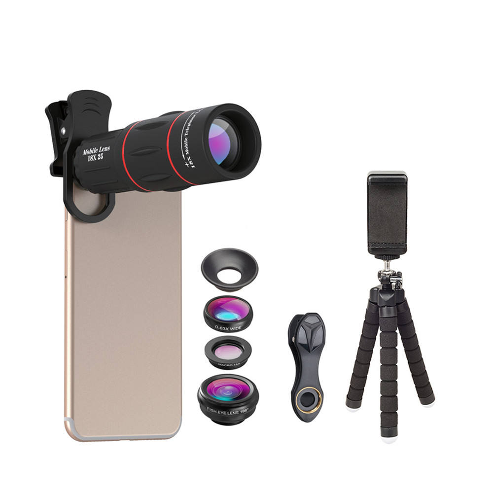 amazon top seller 2019 telephoto lens 18x telescope cell phone camera lens kit tripod for mobile phone
