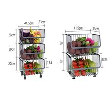 Good Quality Multifunction Organize Shelf 3-tier Standing Kitchen Steel Rolling Basket cart Rack