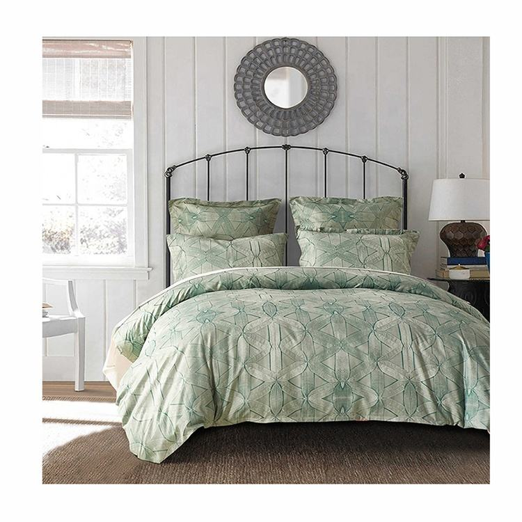 Popular Hot Selling Luxury Washable Polyester Bedding Fabric Green Duvet Cover Set
