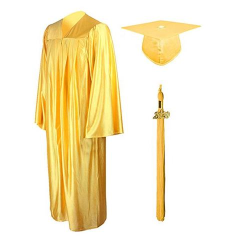 American Style Graduation Gown and Cap Shiny