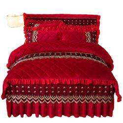 KAERFU korean bed skirt red wedding bedding skirts and cushi