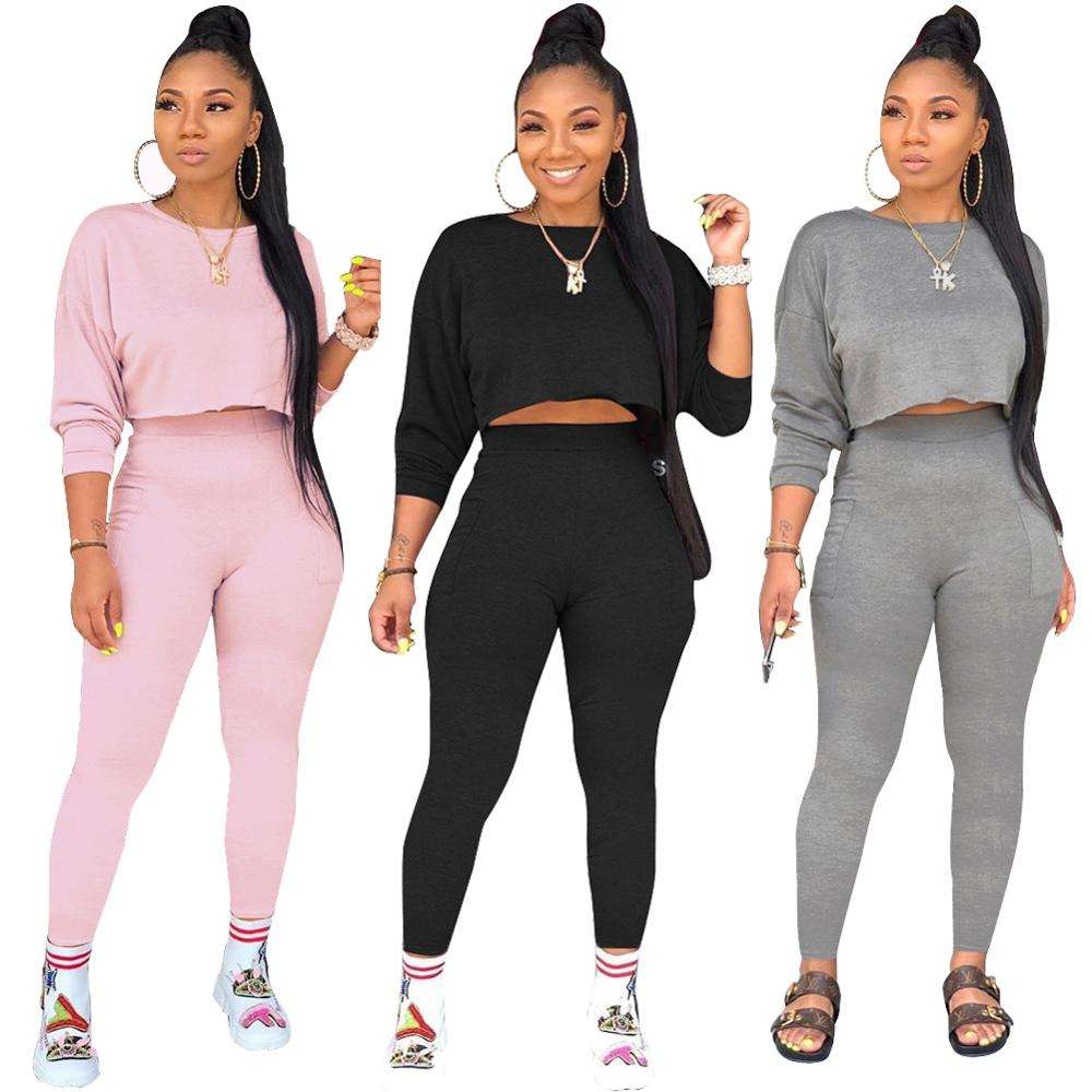 women top and pants long sleeve pullover sweatshirt no hood two pieces sets sport track suit for women