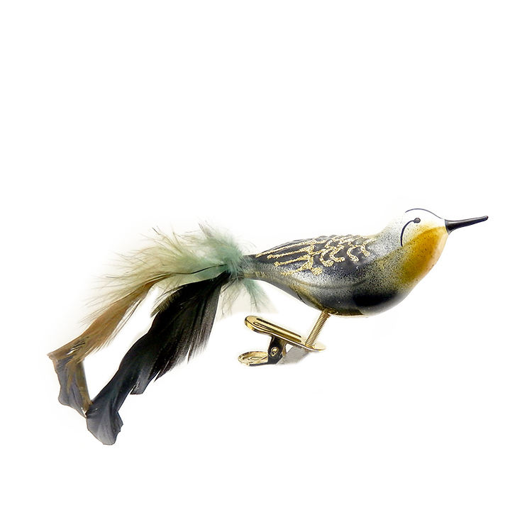 Wholesale Handmade decorative blown art glass bird ornaments animal figurines with clip for festival