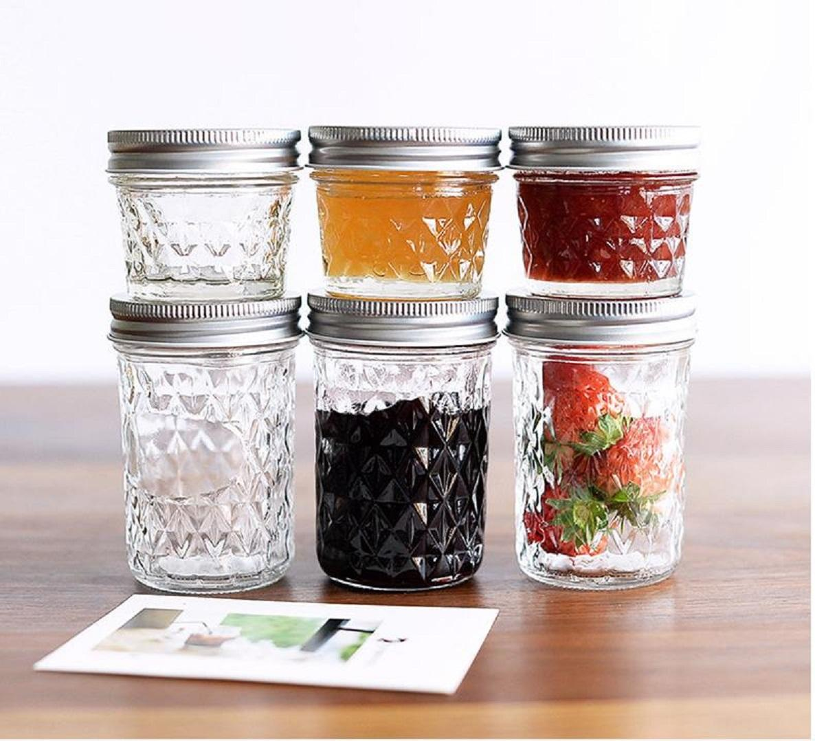 Wholesale diamond caviar jar honey glass jar mason cup hot sauce jam jar with curled tinplate lid