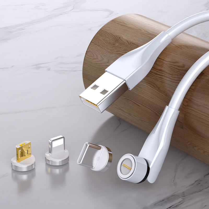 540 Degree Rotation 3A Quick Charger USB Data Cable Magnetic 3で1 Micro USB Type C IOS Mobile Phone Fast Charging Cable
