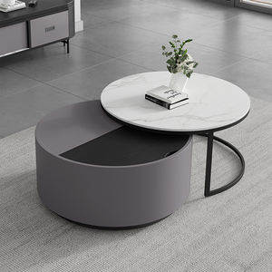 Gaya Italia Furniture Modern Hitam Bulat Sectionals Smart Meja Kopi