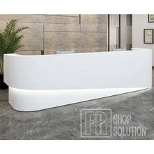 Hot Sell Customize White Curved Led Executive Lounge Beauty Salon Front Bar Reception Counter Desk