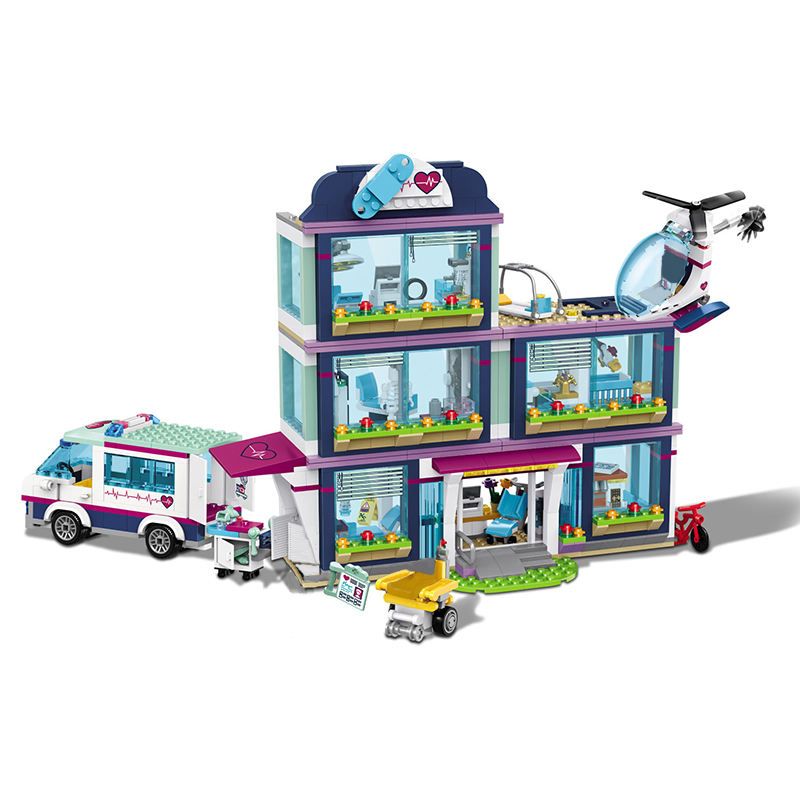 New 932pcs Heartlake Hospital Model Building Blocks Compatible Legoinglys City Hospital Girls Friends Bricks for Children
