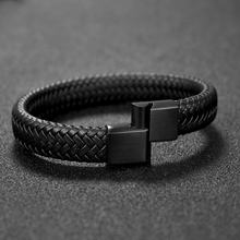 High Quality braided Wristband custom Leather Bracelets Weave magnetic clasps hand chain For Men Gift Accessories